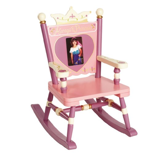 Wildkin Princess Mini Rocking Chair, Features Built-In Picture Frame and Durable Wood Construction, Measures 21 x 13.5 x 24 inches