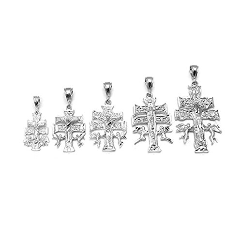 Blue Apple Co. D/C Caravaca Cross Charm for Chain Pendant 925 Sterling Silver