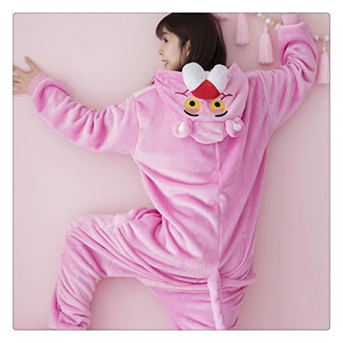 Warm Flannel Pajamas for Women Pajama Couples Cartoon Sleepwear Adult Animal Onsies Adulto Unicorn Panda Stitch Pijamas Pink Leopard XL