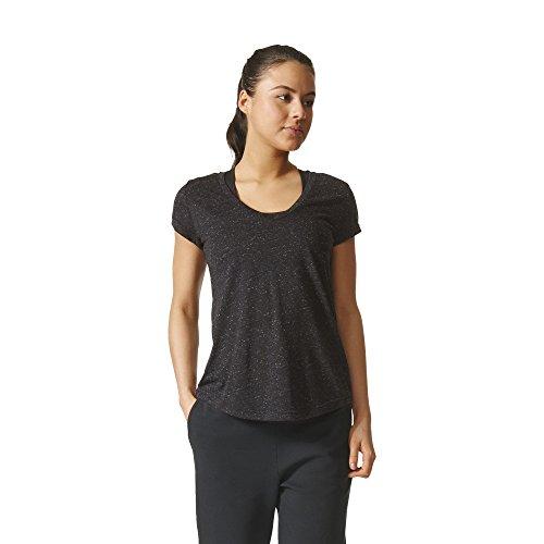 adidas Womens Athletics Graphic V Neck Tee, Black, Large