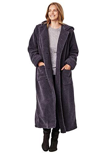 Woman Within Women's Plus Size Long Hooded Berber Fleece Coat – Heather Charcoal, M