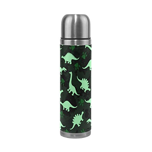 JSTEL Cute Kids Pattern Colorful Dinosaurs Abstract Stainless Steel Water Bottle Vacuum Insulated Thermos Leak Proof Vacuum Insulated Double-Walled Thermos Flask for Hot Coffee or Cold Tea + Drink Cup