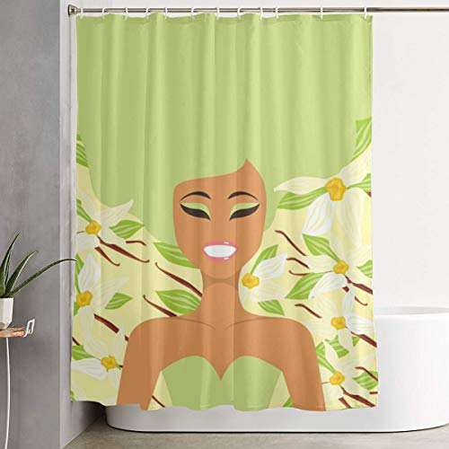 Polyester Shower Curtains Young African American Girl Over Vanilla Background Bathroom Bathtubs Shower Curtain Waterproof Window Curtain with 12 Hooks