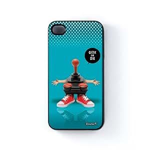 Geek or Die Carcasa Protectora Snap-On en Plastico Negro para Apple® iPhone 4 / 4s de Gangtoyz + Se incluye un protector de pantalla transparente GRATIS