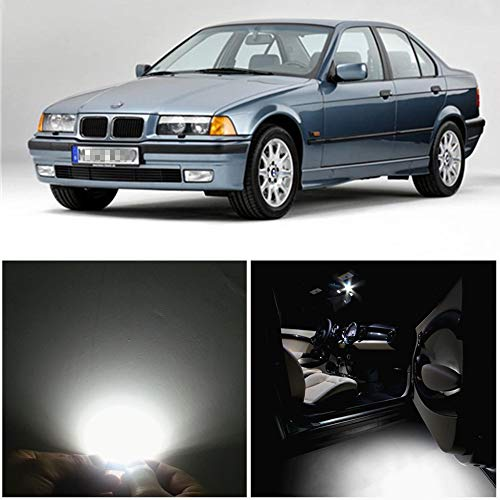 WLJH 15pieces 6000k Pure White Super Bright 2835 Chip Error Free Canbus Car LED Interior lighting Package Kit for BMW 3 Series - E36 M3 318i 318is 318ti 323i 323is 328i 325i