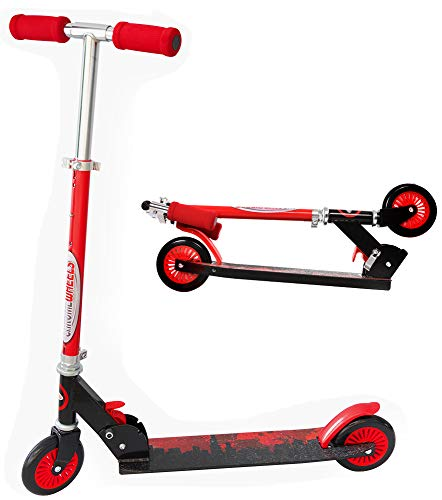 ChromeWheels Scooter for Kids, Deluxe Kick Scooter 4 Adjustable Height 2 Wheels Foldable Scooters, Best Gifts for Boys Girls, Age 3-12 Years Old, Red ()