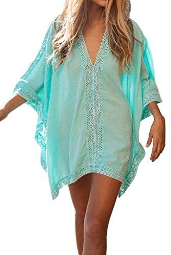 Lemon co.,ltd Sexy Womens Green Rayon Flutter Sleeve Skirt Beach Swimwear Cover-up,Women's Gauzy Artistic Beach Dress One size