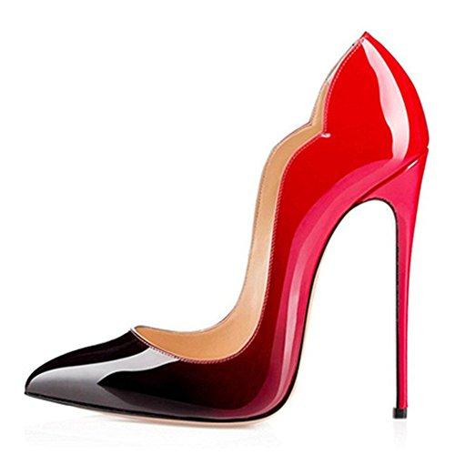QIN&X Damen Stiletto High Heels Spitzen toe Pumps Schuhe Red
