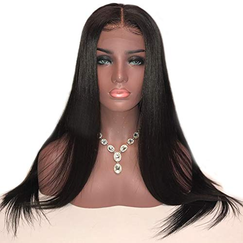 13x6 Straight Lace Front Wig Pre plucked Lace Frontal Human Hair Wig With Baby Hair Bleached Knots Brazilian Non-remy 130%,Natural Color,24inches]()