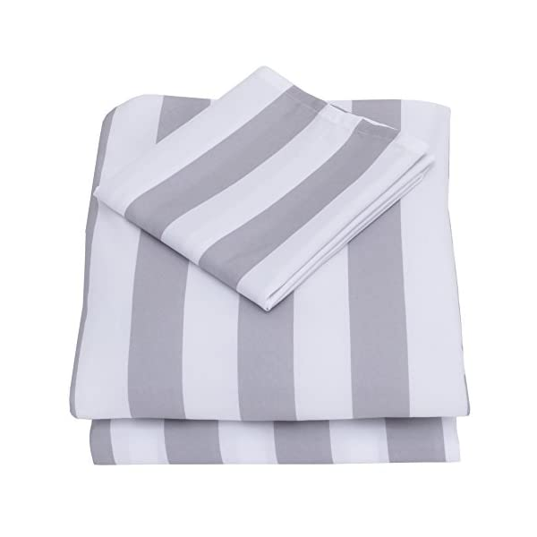 "NoJo 3-Piece Toddler Sheet Set, Grey/White Rugby Stripes, 52"" x 28"" 1"