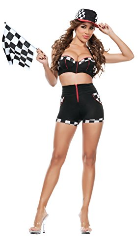 [Starline Women's Full Throttle Racer Sexy 4 Piece Costume Set with Flag, Black, Small] (Sexy Black Race Car Driver Costumes)