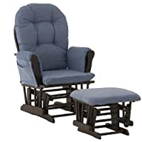 Storkcraft Hoop Glider and Ottoman, Espresso/Denim