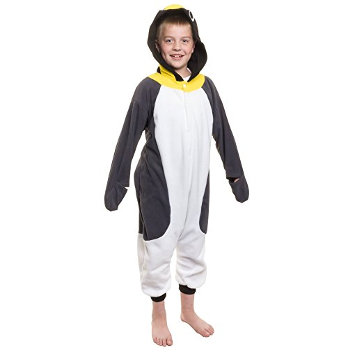 [Silver Lilly Kids Penguin Animal Costume - Childrens Plush One Piece Pajamas (T)] (Animals Dressed Up In Halloween Costumes)
