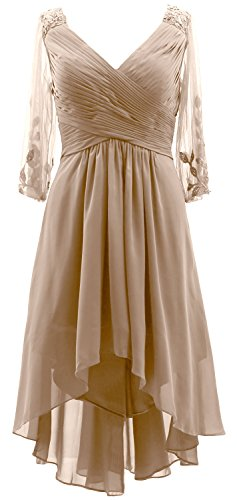 Sleeves 4 Neck Gown MACloth Formal 3 Champagner the Bride Hi Women Mother Dress Lo of V 40nxx1Rw