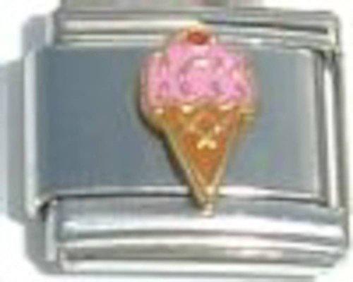 Pink Ice Cream Cone Italian Charm Cone Link