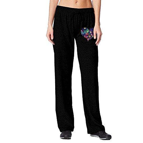 [BakeOnion Women's Love Yourself Flower Heart Running Sweatpants XL Black] (Scott Hall Costume)