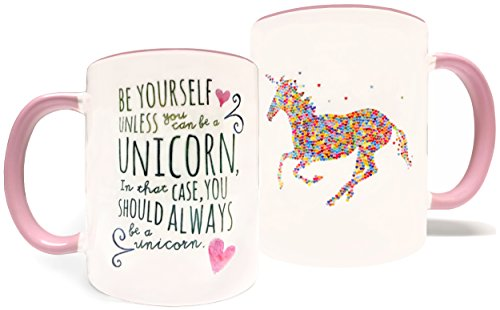 Be Yourself Unless You Can Be A Unicorn - 11oz Grade A Quality Ceramic Two Tone Pink/White Ceramic Mug/Cup - Perfect Funny/Inspirational Gift - Foam Gift Box Included