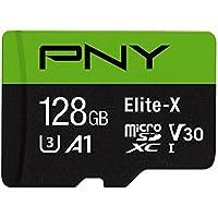 PNY Elite-X micro SD 128GB, U3, V30, A1, Class 10, up to 100MB/s – P-SDU128U3100EX-GE