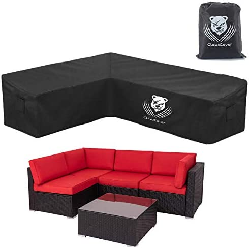 Amazon Com Clawscover L Shaped Sectional Sofa Covers Waterproof Outdoor Tear Proof Patio Couch Cover Garden Furniture Protector 6 Windproof Straps 2 Air Vents Left Facing Garden Outdoor