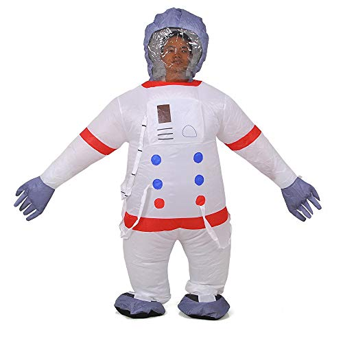 RHYTHMARTS Inflatable Astronaut Costume Fancy Dress Jumpsuit Space Suit Cosplay Costume (White) -