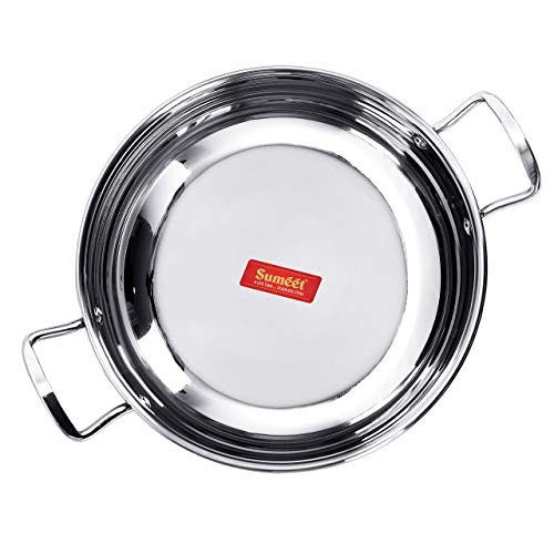 Sumeet Stainless Steel Induction Bottom (Encapsulated Bottom) Induction & Gas Stove Friendly Kadhai Size No.11 (1.5 - Bottom Encapsulated