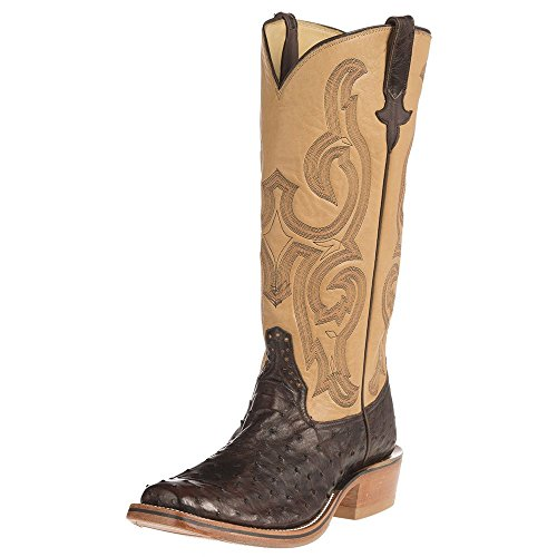NRS Rios Of Mercedes Mens Ride Ready Lux Full Quill Ostrich Remuda Top Boots 10.5 D(M) US Nicotine