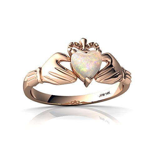 14kt Rose Gold Opal 5mm Heart Claddagh Ring - Size 6