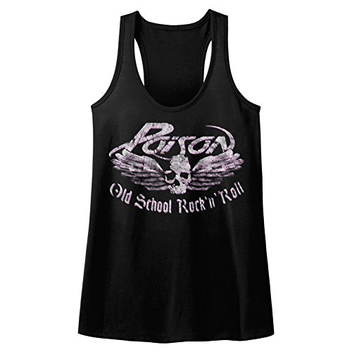 Poison Skull and Wings Old School Rock N Roll Womens Tank Top Shirt Black