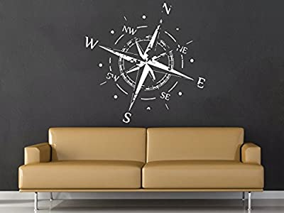 Wall Decal Vinyl Sticker Decals Compass Rose Nautical Decor Compass Navigate Ship Ocean Sea Living Room Home Decor Art Bedroom Design Interior