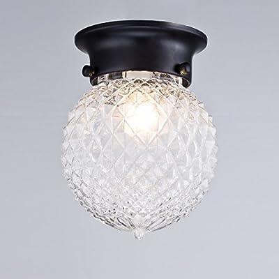 Truelite Industrial Antique Style Plantation Collection Flush Mount Ceiling Light Prismatic Glass Globe Light Fixtures