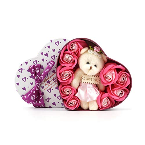 I Love You 9 Scented Pink Rose Flower Petal Bath Soap Heart Box Cute Teddy Bear Lasting Women Girls Mother's Birthday SF902