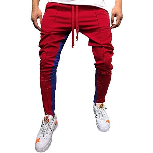 Rosso Casual Patchwork Solido Sportivi Elecenty Pantalone Uomo Pantaloni Allentato Color Da Jogger xTgPw7