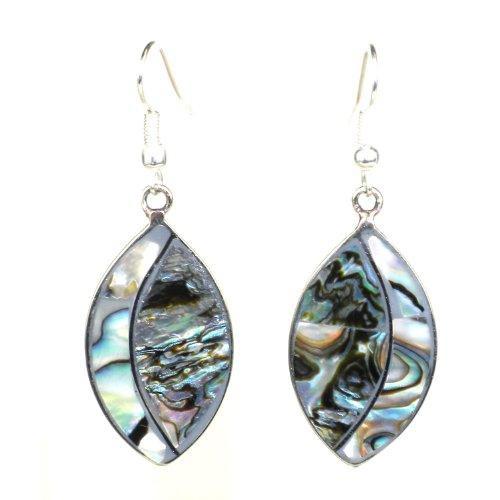 Alpaca Silver Abalone Ellipse Earrings - Artisana - Alpaca Abalone