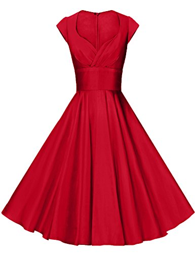 GownTown Womens Dresses Party Dresses 1950s Vintage Dresses Swing Stretchy Dresses, Red, -