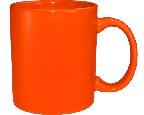 Orange Coffee Mug - Funny Guy Mugs Plain Orange Ceramic Coffee Mug, Orange, 11-Ounce