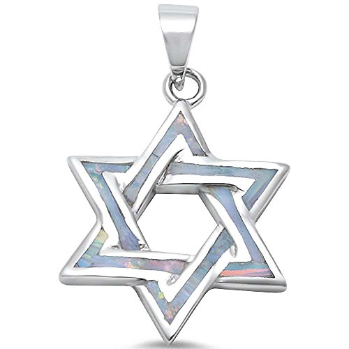 Oxford Diamond Co Lab Created Opal Star of David .925 Sterling Silver Pendant Blue or White (Lab Created White Opal) (Star Created Lab Silver)