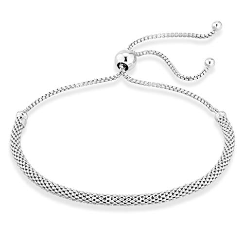 MiaBella 925 Sterling Silver Adjustable Bolo 3mm Mesh Chain Bracelet for Women Your Choice White or Yellow (Sterling-Silver)