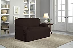 Serta Relaxed Fit Smooth Suede Furniture Slipcover for T-Love Seat, Chocolate