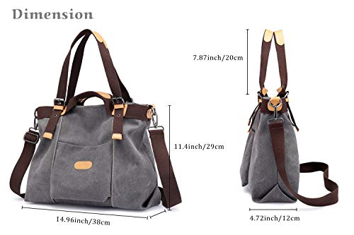 Chikencall Women Hobo Handbags Canvas Casual Vintage Shoulder bags Daily Purse Ladies Top Handle Bag Tote Crossbody Shopping Bags for Women - Grey