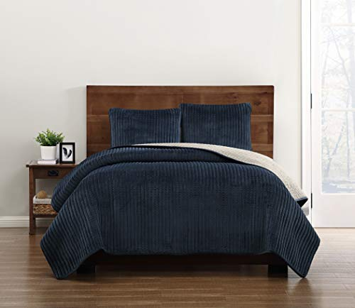 Truly Soft Everyday Navy King Velvet Quilt Set, (Blue Pick Stitch Quilt)