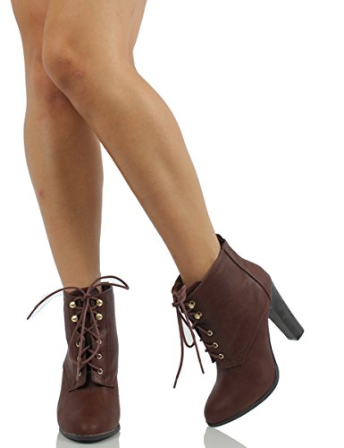Delicious Womens Jackie Faux Leather Lace Up High Heel Ankle Bootie, Cognac, 10 M US
