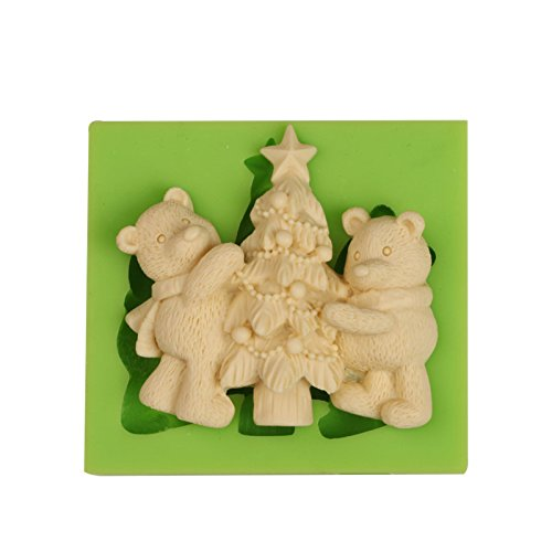Teddy Bear Silicone - Creationtop Silicone Mold Teddy Bears Fondant and Gum Paste Candy Cake Baking Mold For Cake Decorating (Christmas #6)