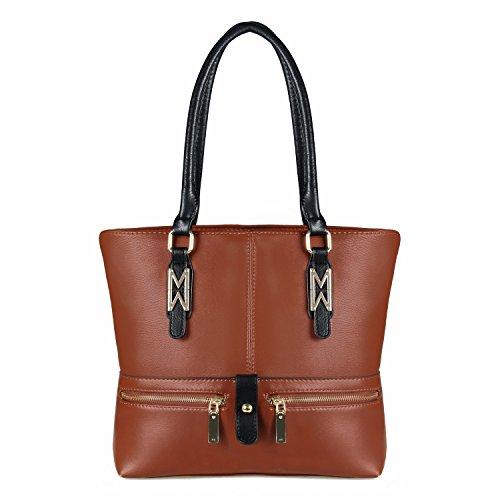 YOLANDO Handbags For Women Large Vegan Leather Multi Pockets Tote Bag Brown