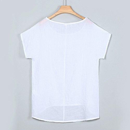 iLOOSKR Women Bat Sleeve Short Sleeve Shirt Casual Loose Top T-Shirt Pullover(White,XXXL) by iLOOSKR (Image #2)