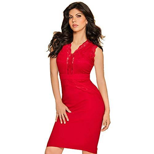 cklass Vestido aplicación Encaje Rojo Talla S