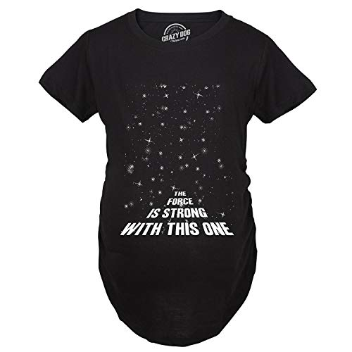 Maternity Force is Strong Funny Pregnancy T-Shirt for Expecting Mothers (Black) - L ()