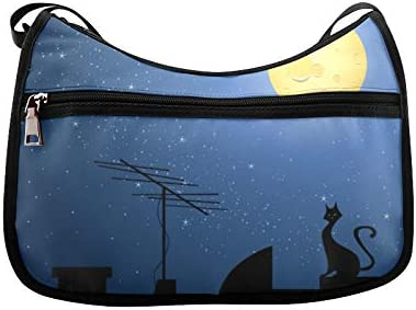 Cat On The Roof At Night Moon Messenger Bag Crossbody Bag Large Durable Shoulder School Or Business Bag Oxford Fabric For Mens Womens