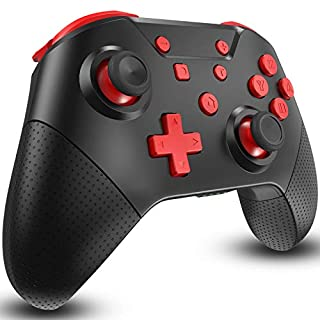 Switch Controller for Nintendo Switch with Wake Up, NFC, Turbo, Gyro Axis, Dual Shock, Pro Controller Compatible Nintendo Switch/Switch Lite (Black Rad)