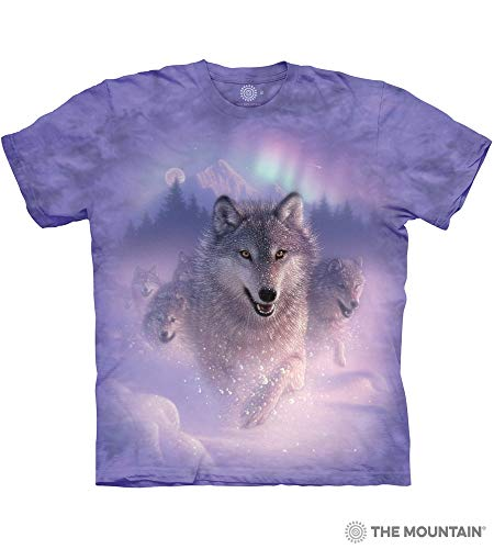 The Mountain Northern Lights Adult T-Shirt, Purple, Large