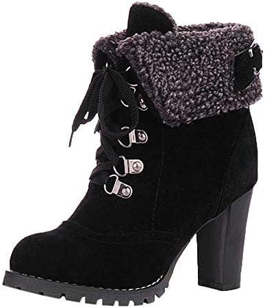 Bottines Femme, Xinantime Femmes Chaussures à Lacets Courtes à Lacets Pour Femmes Bottines de Loisirs Bottes à Talons hauts Soirée Dansante Automne